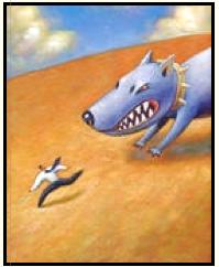 angry dog chasing man
